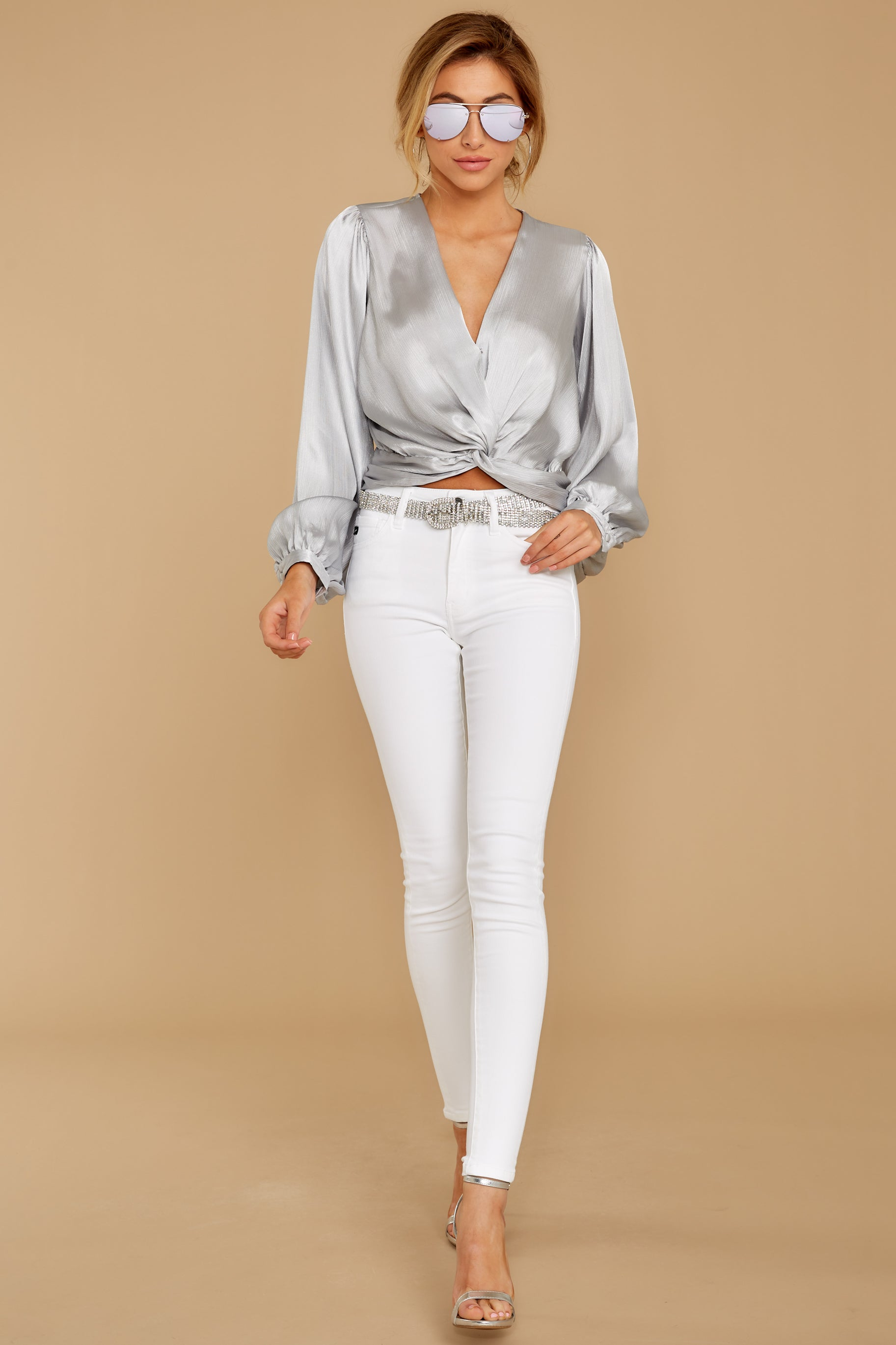 3 Drinks On Me Silver Top at reddressboutique.com