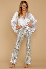 5 She Did It Again Silver Sequin Pants at reddressboutique.com