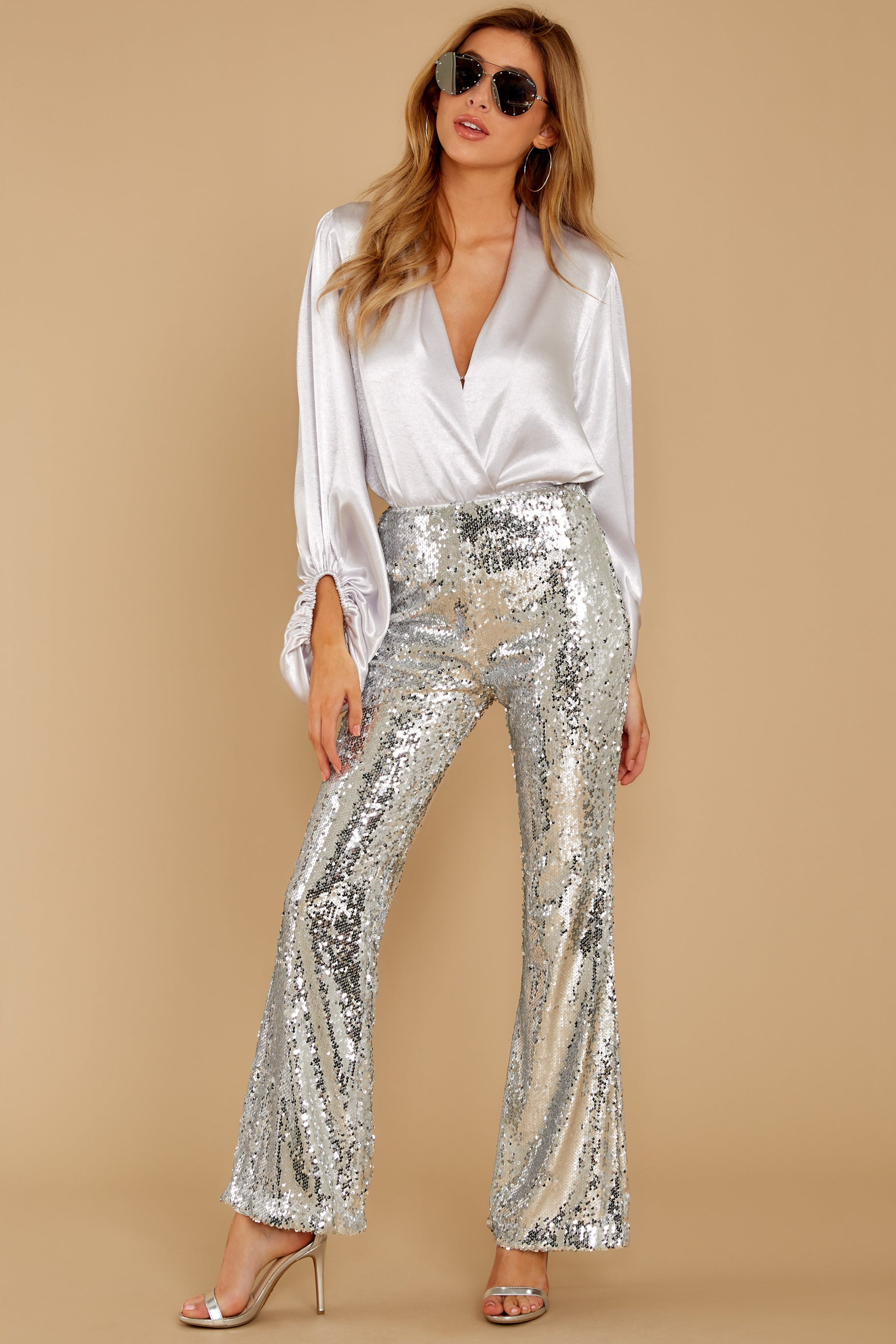 6 She Did It Again Silver Sequin Pants at reddressboutique.com
