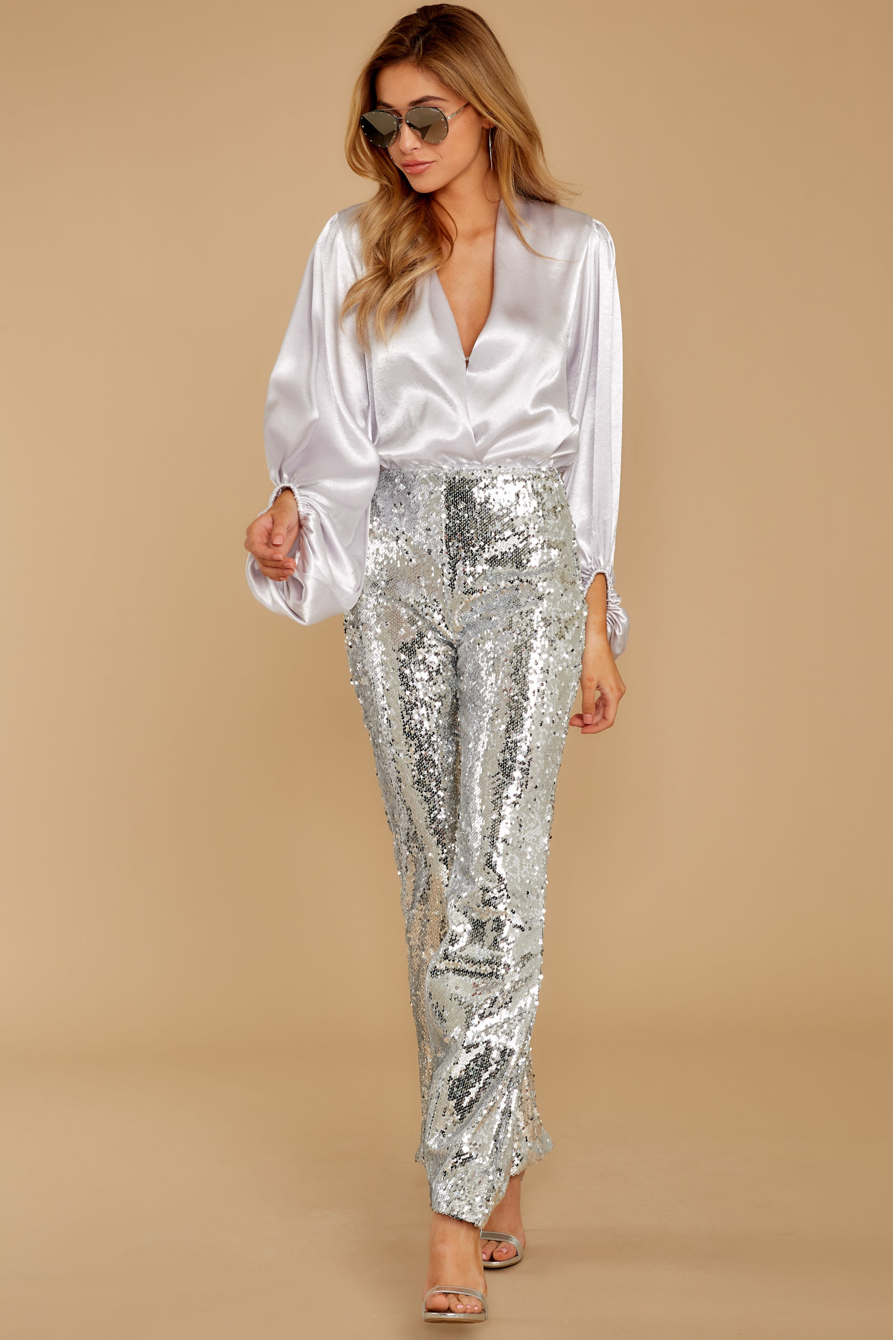 7 She Did It Again Silver Sequin Pants at reddressboutique.com
