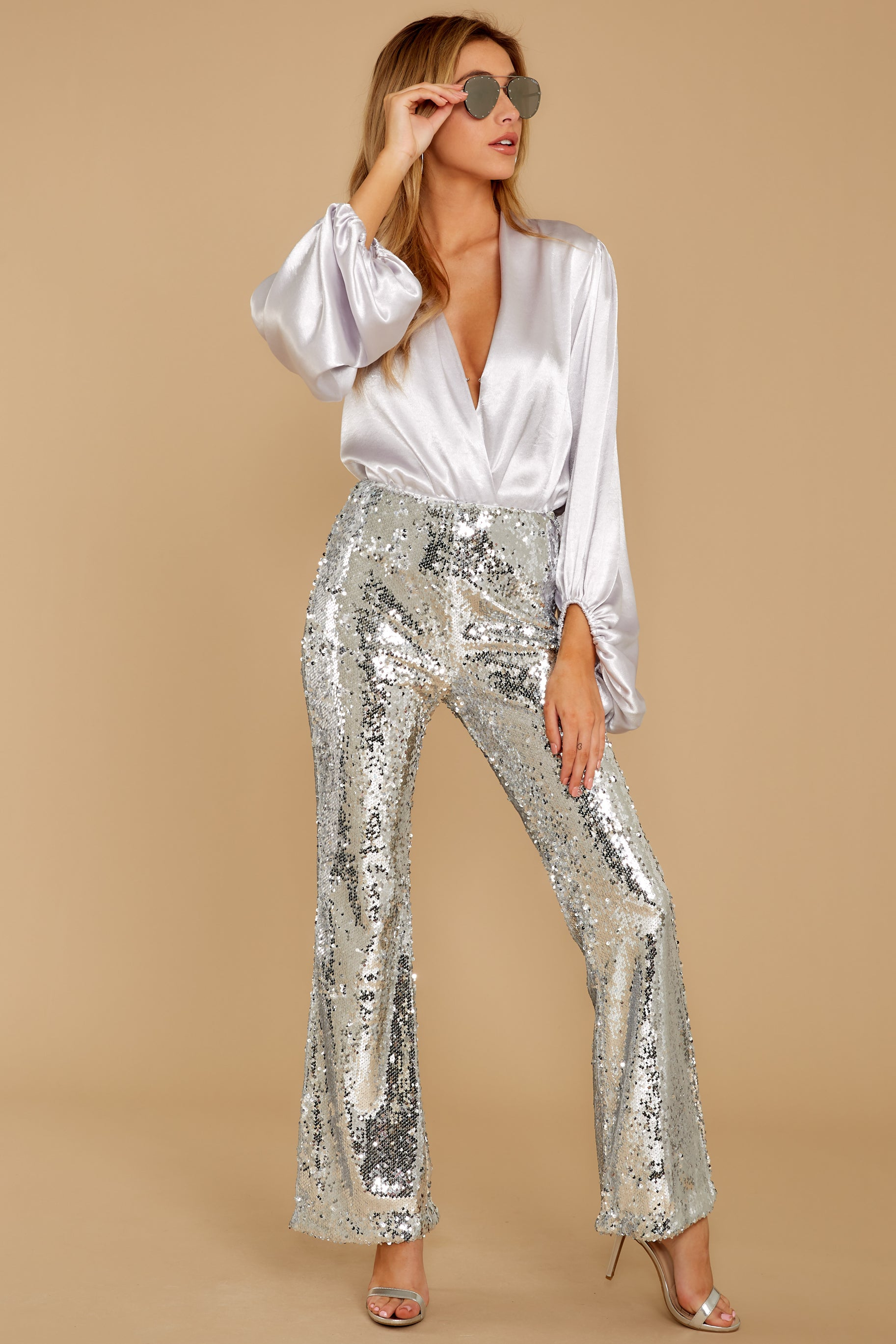 8 She Did It Again Silver Sequin Pants at reddressboutique.com