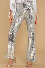 2 She Did It Again Silver Sequin Pants at reddressboutique.com