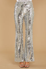 3 She Did It Again Silver Sequin Pants at reddressboutique.com