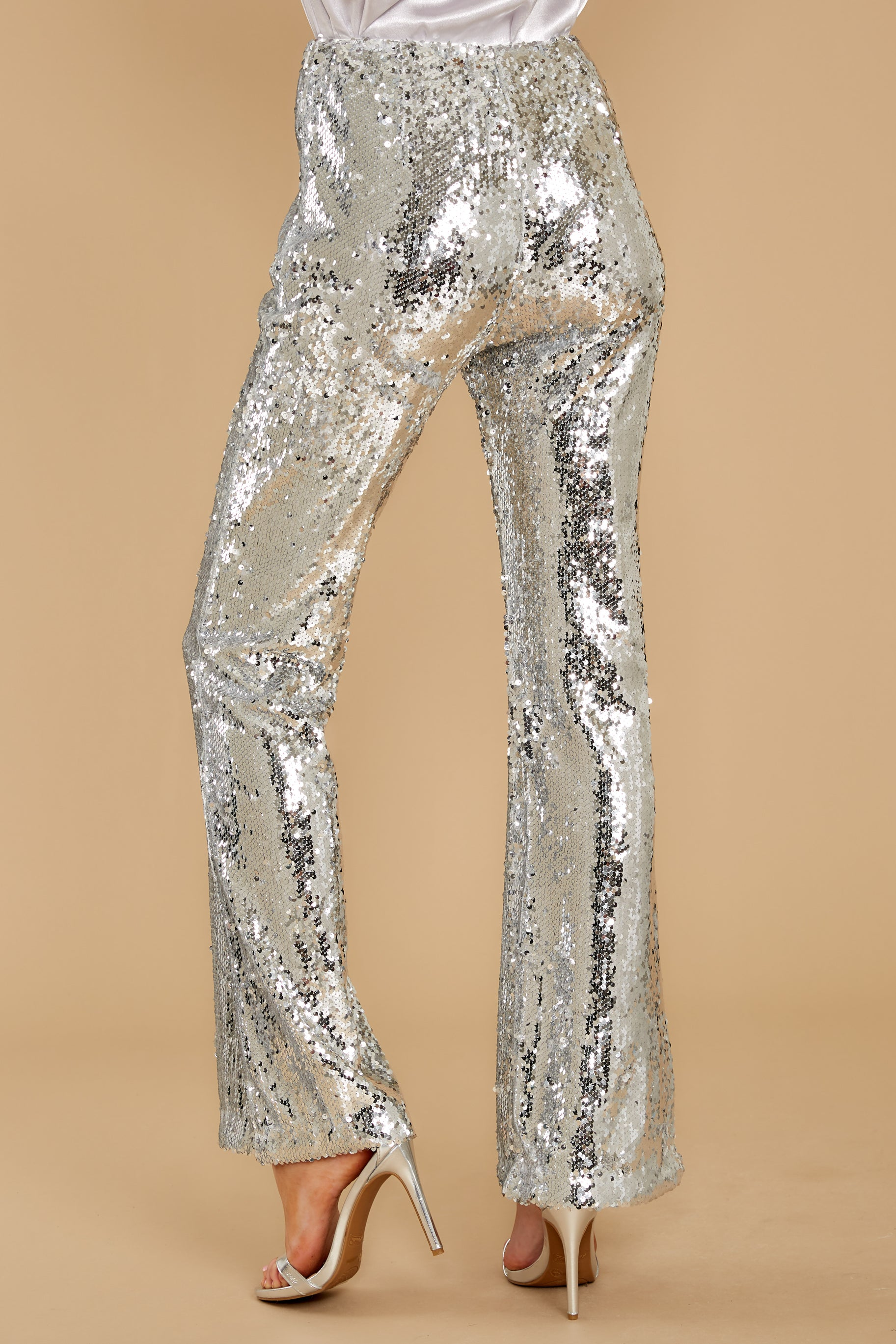 4 She Did It Again Silver Sequin Pants at reddressboutique.com