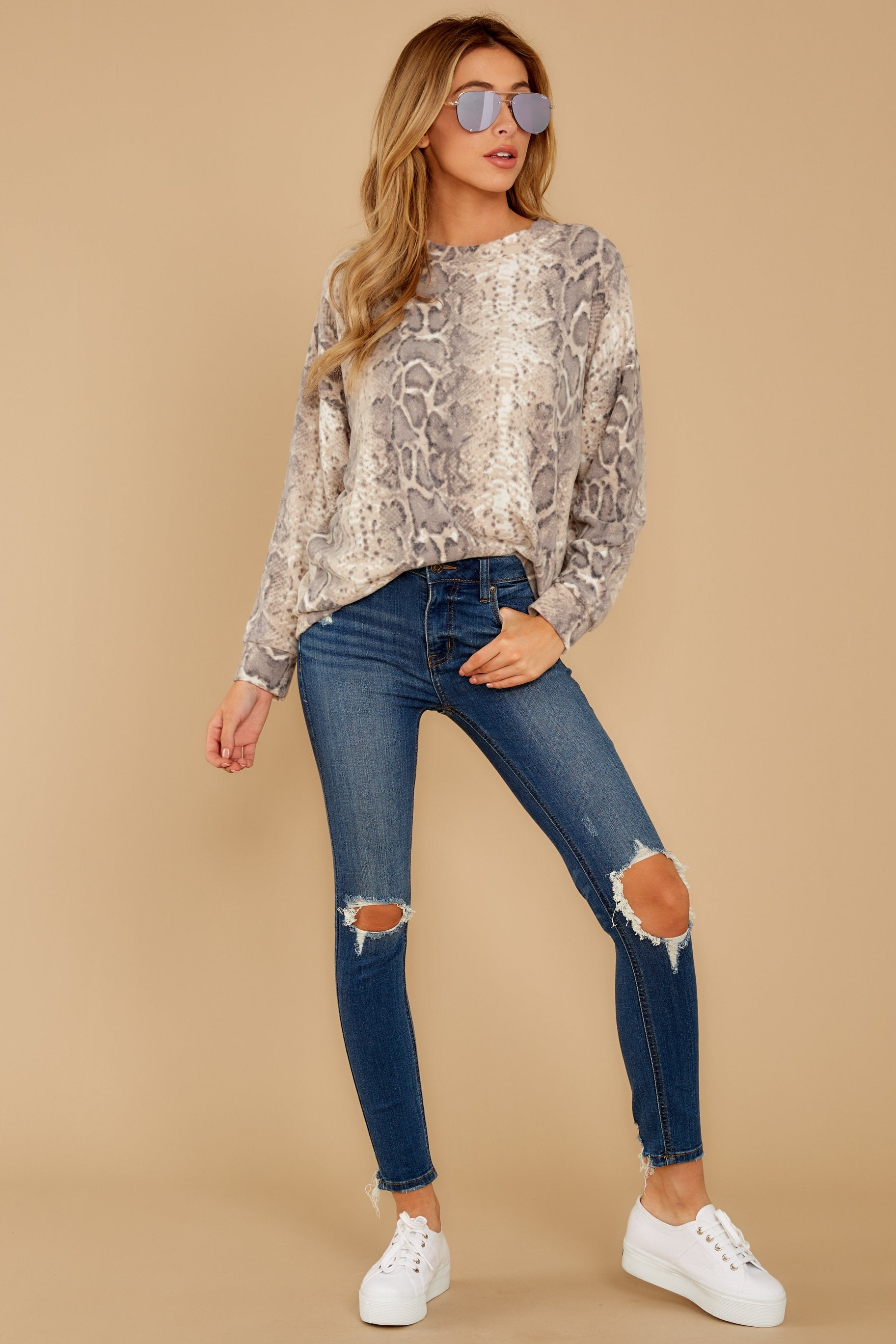 2 All Too Well Taupe Snake Print Top at reddressboutique.com