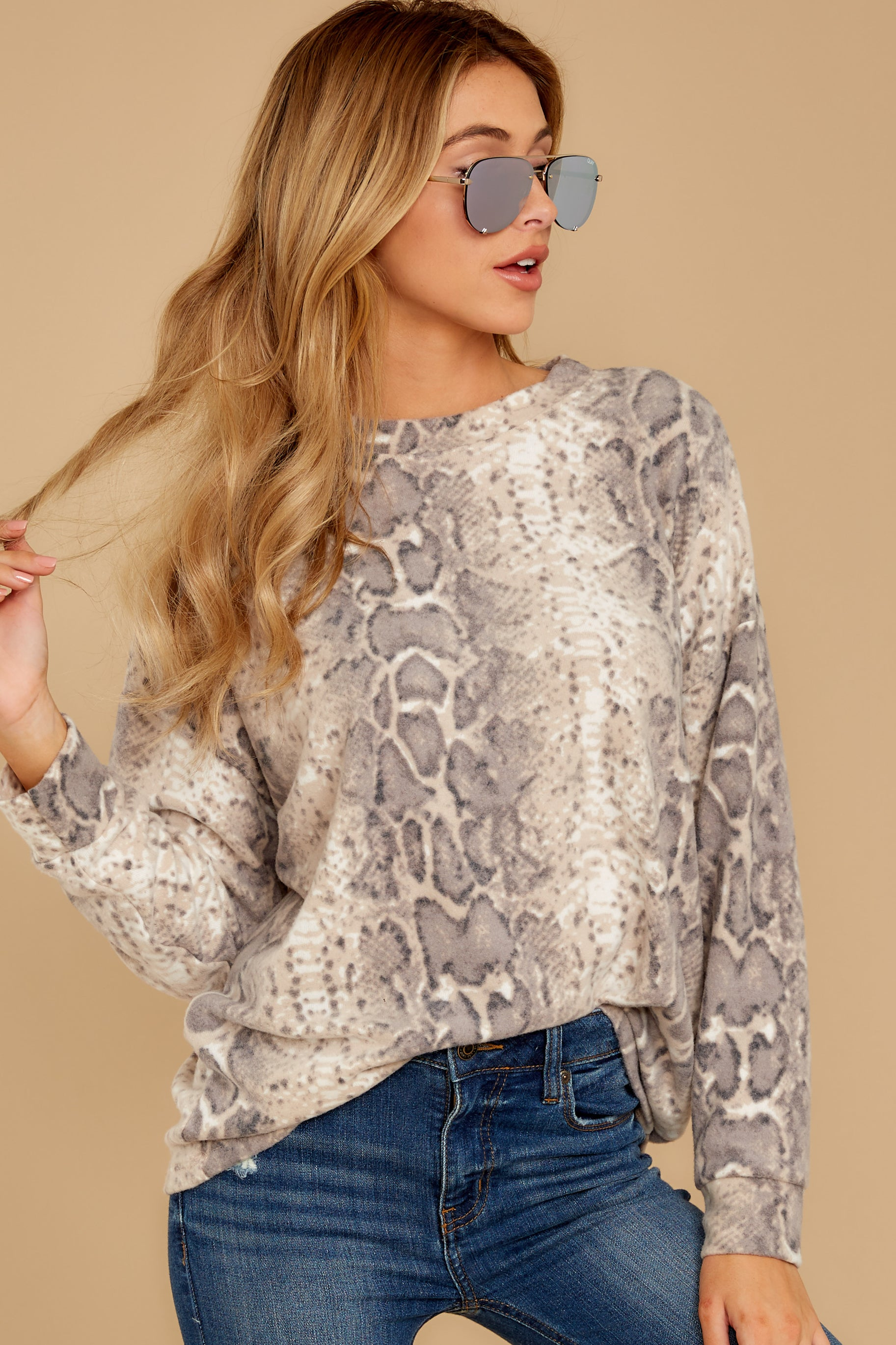 5 All Too Well Taupe Snake Print Top at reddressboutique.com
