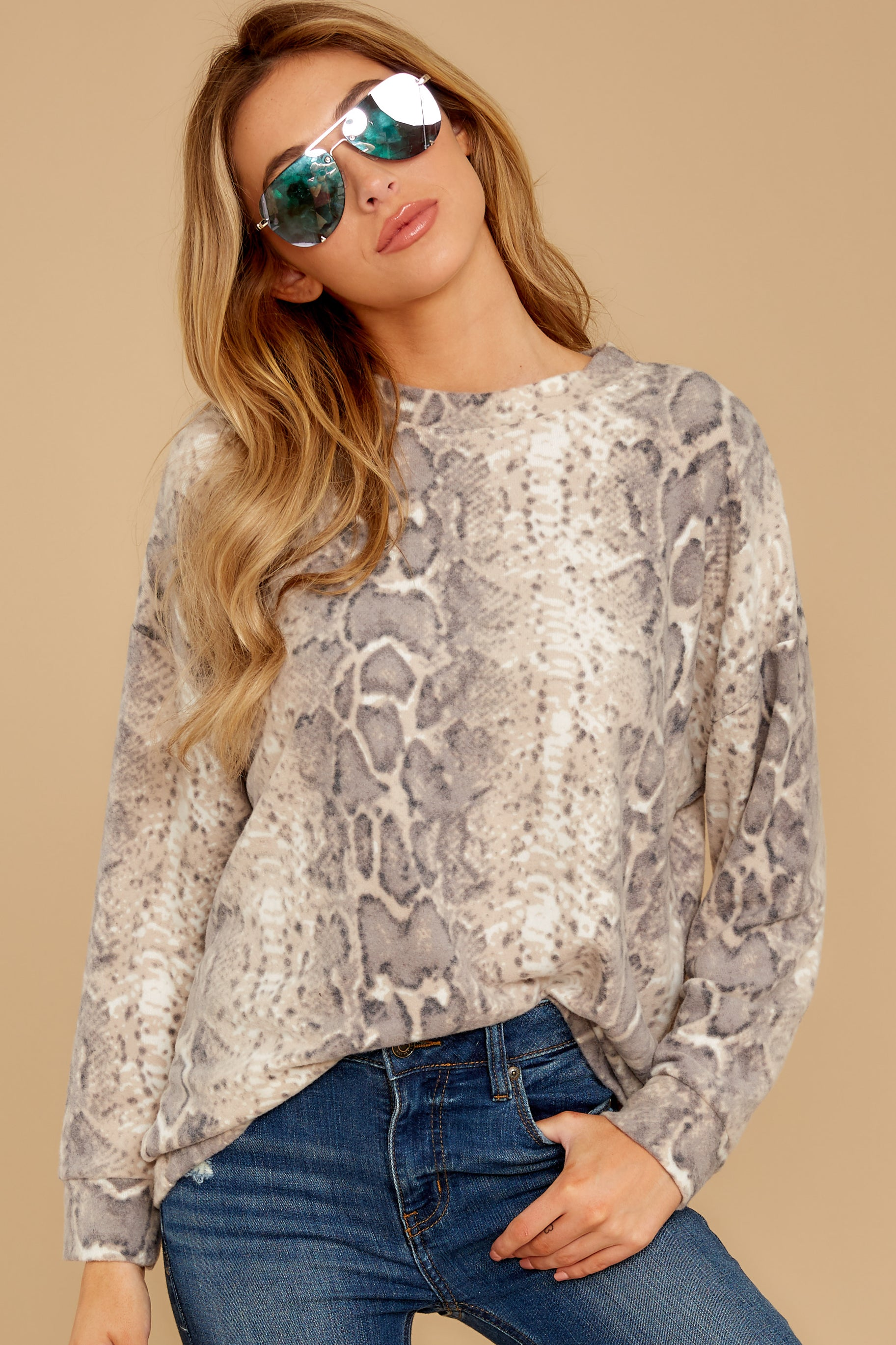 4 All Too Well Taupe Snake Print Top at reddressboutique.com
