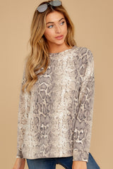 6 All Too Well Taupe Snake Print Top at reddressboutique.com