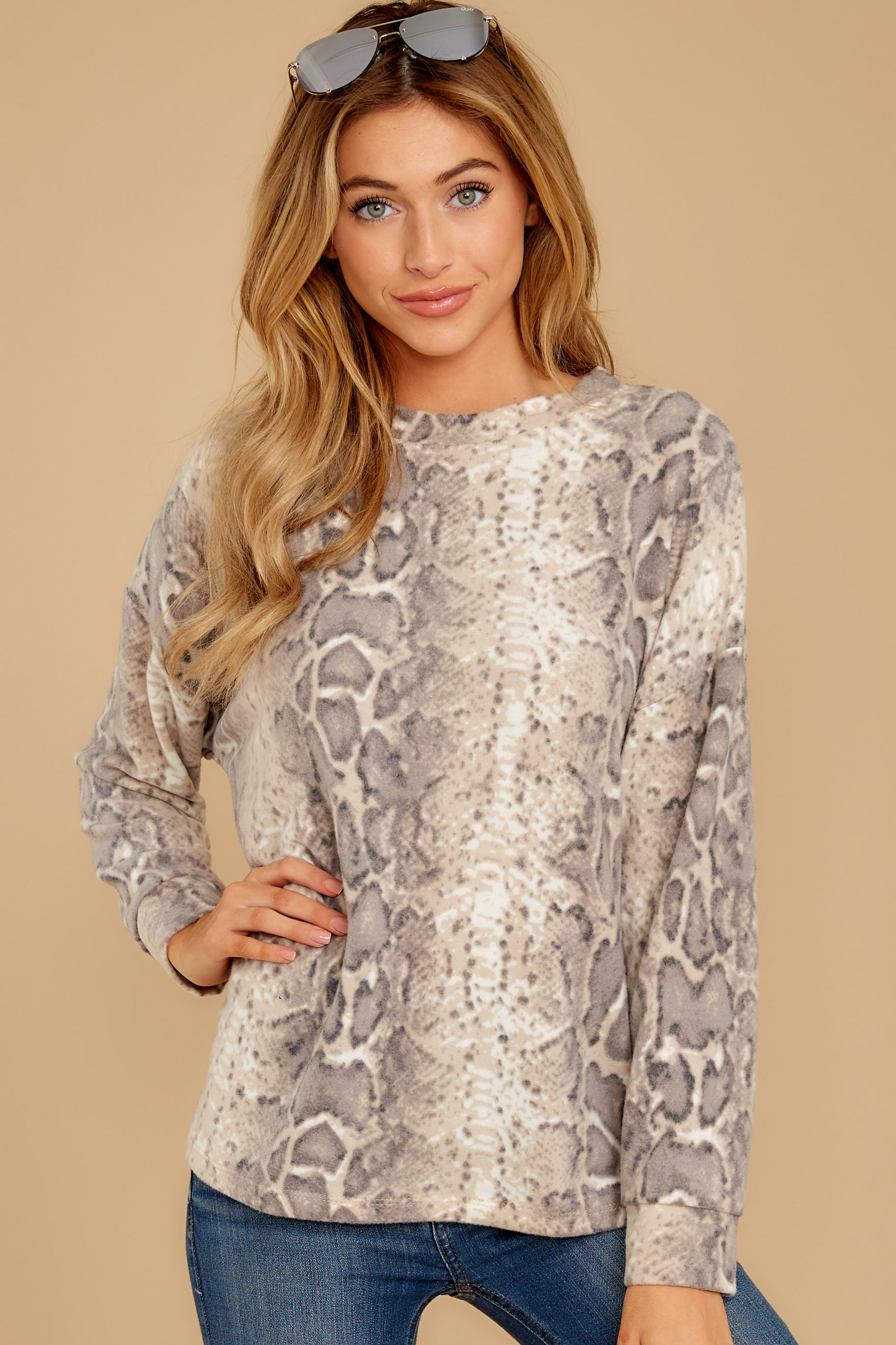 7 All Too Well Taupe Snake Print Top at reddressboutique.com