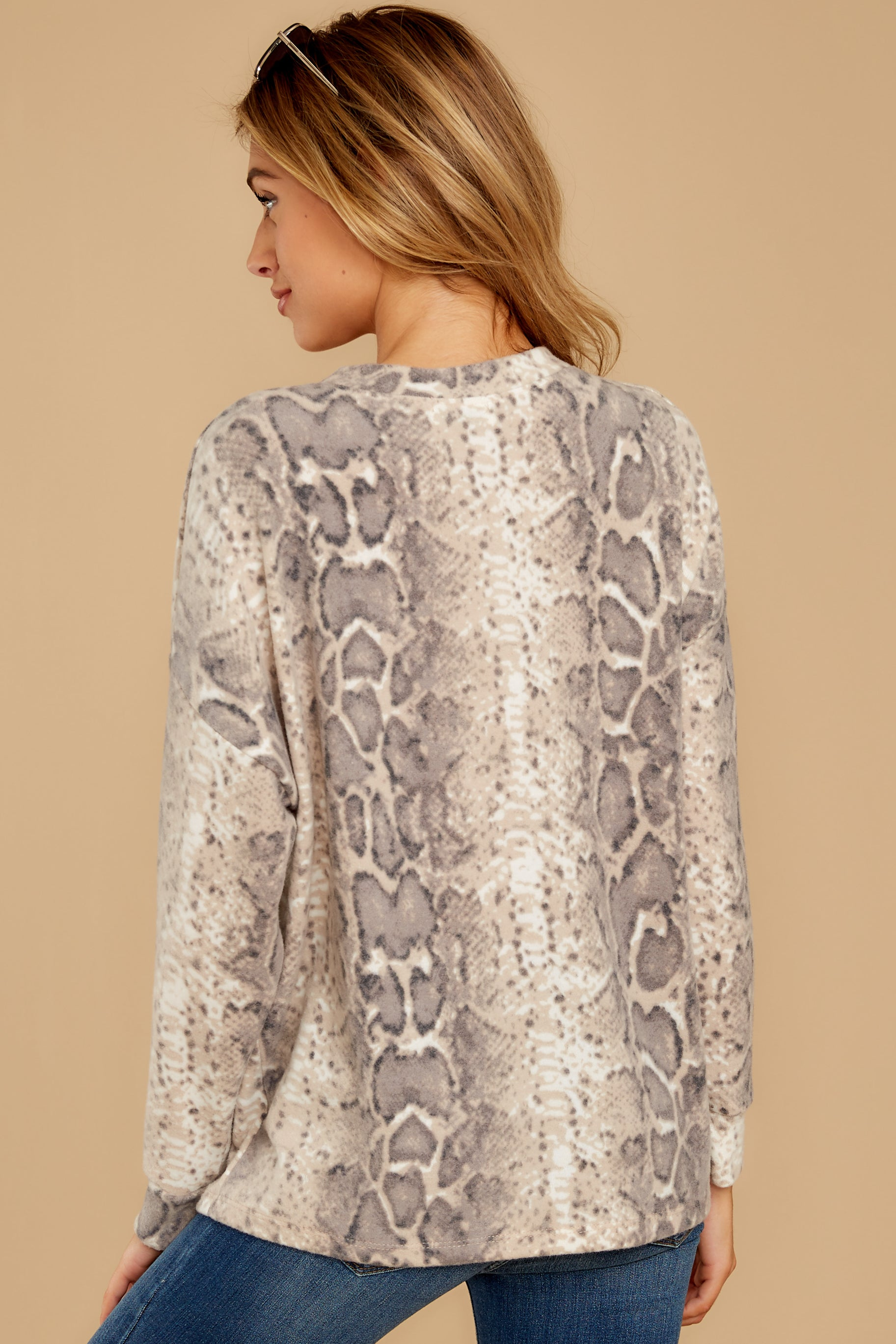 8 All Too Well Taupe Snake Print Top at reddressboutique.com