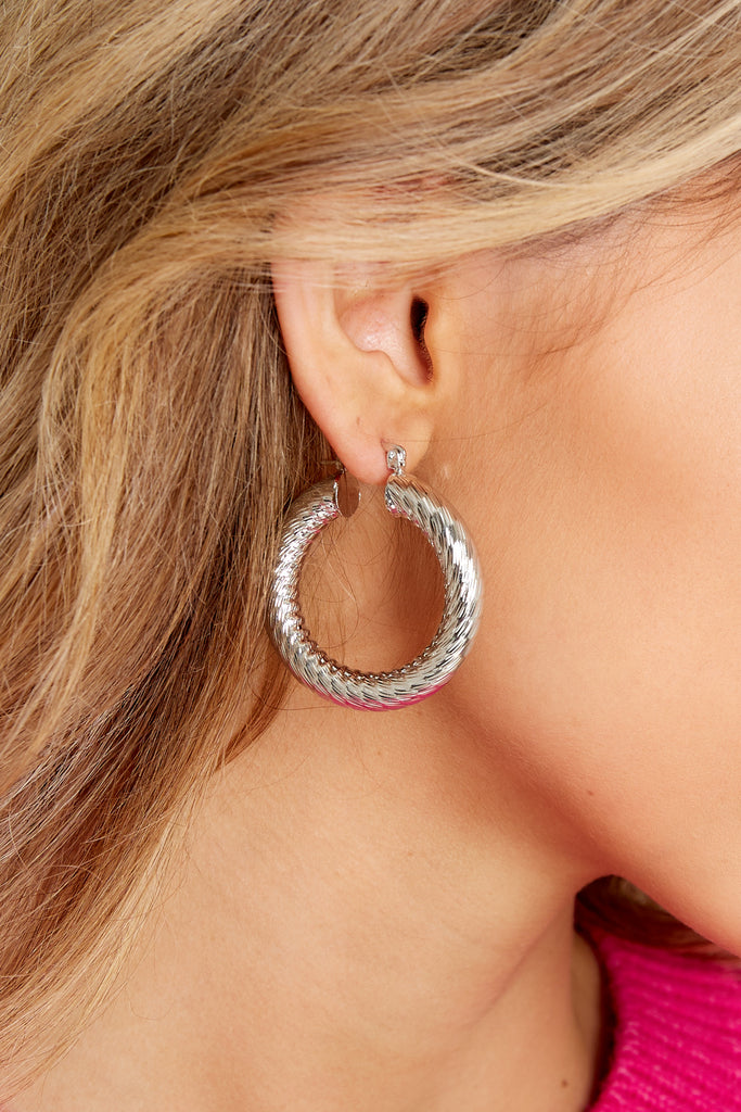 1 Let Them Stare White Gold Small Hoops at reddress.com