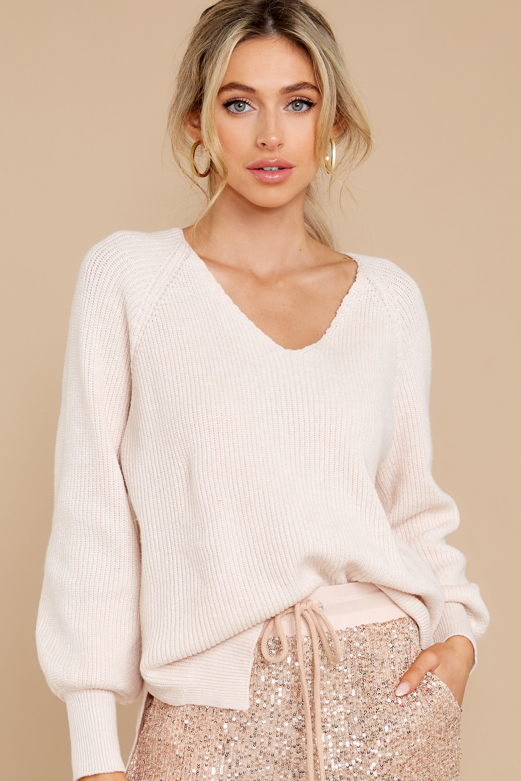 4 New Traditions Ivory Sweater at reddress.com