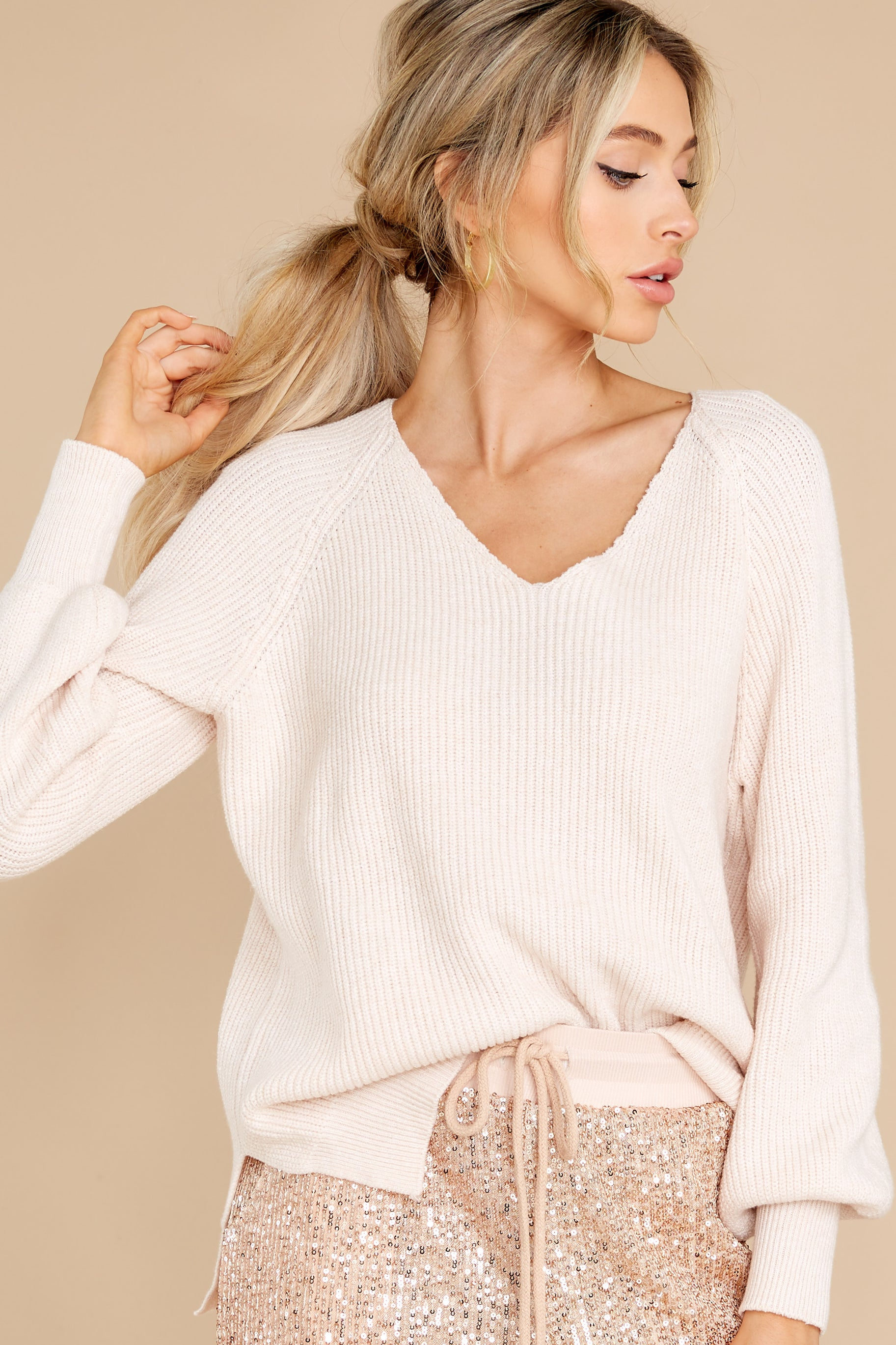 6 New Traditions Ivory Sweater at reddress.com