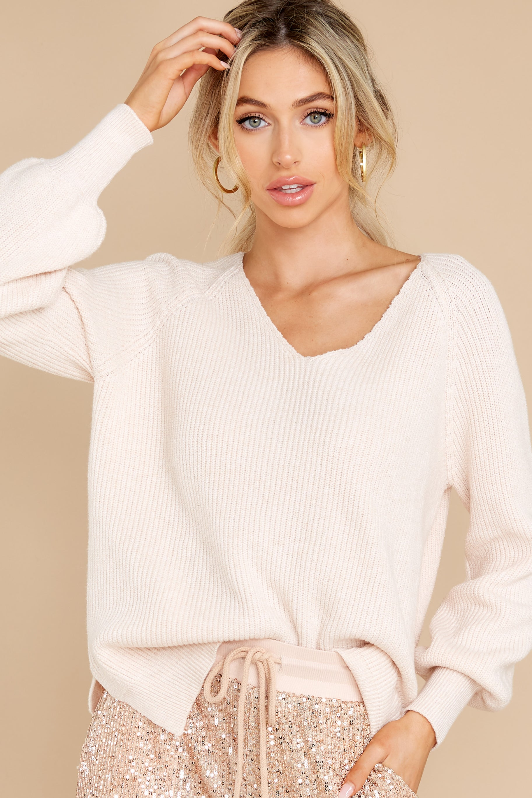 7 New Traditions Ivory Sweater at reddress.com