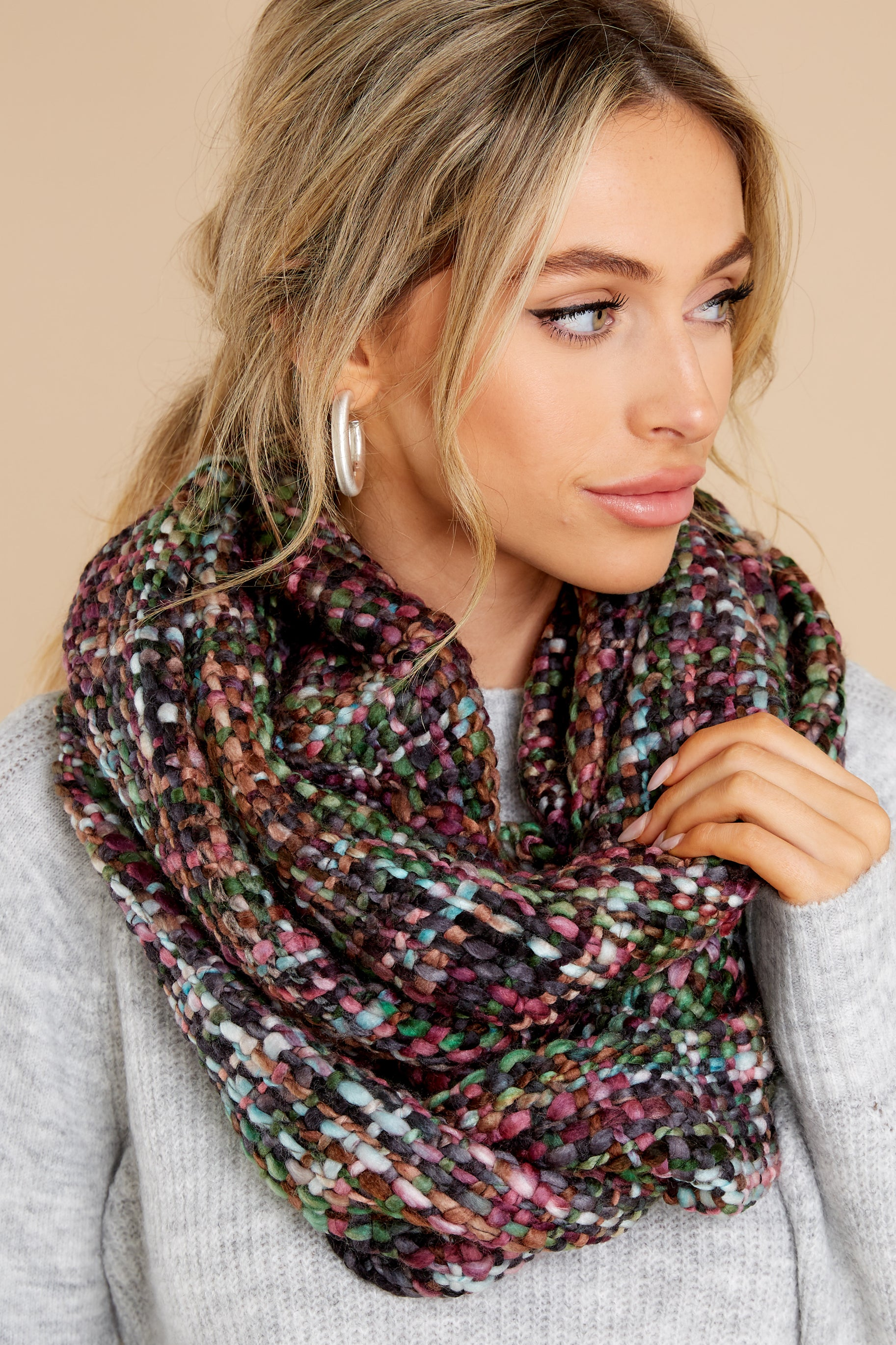 2 Warm Me Up Purple And Green Multi Knit Infinity Scarf at reddress.com