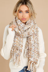 1 Around The Fire White And Mocha Multi Knit Scarf at reddress.com