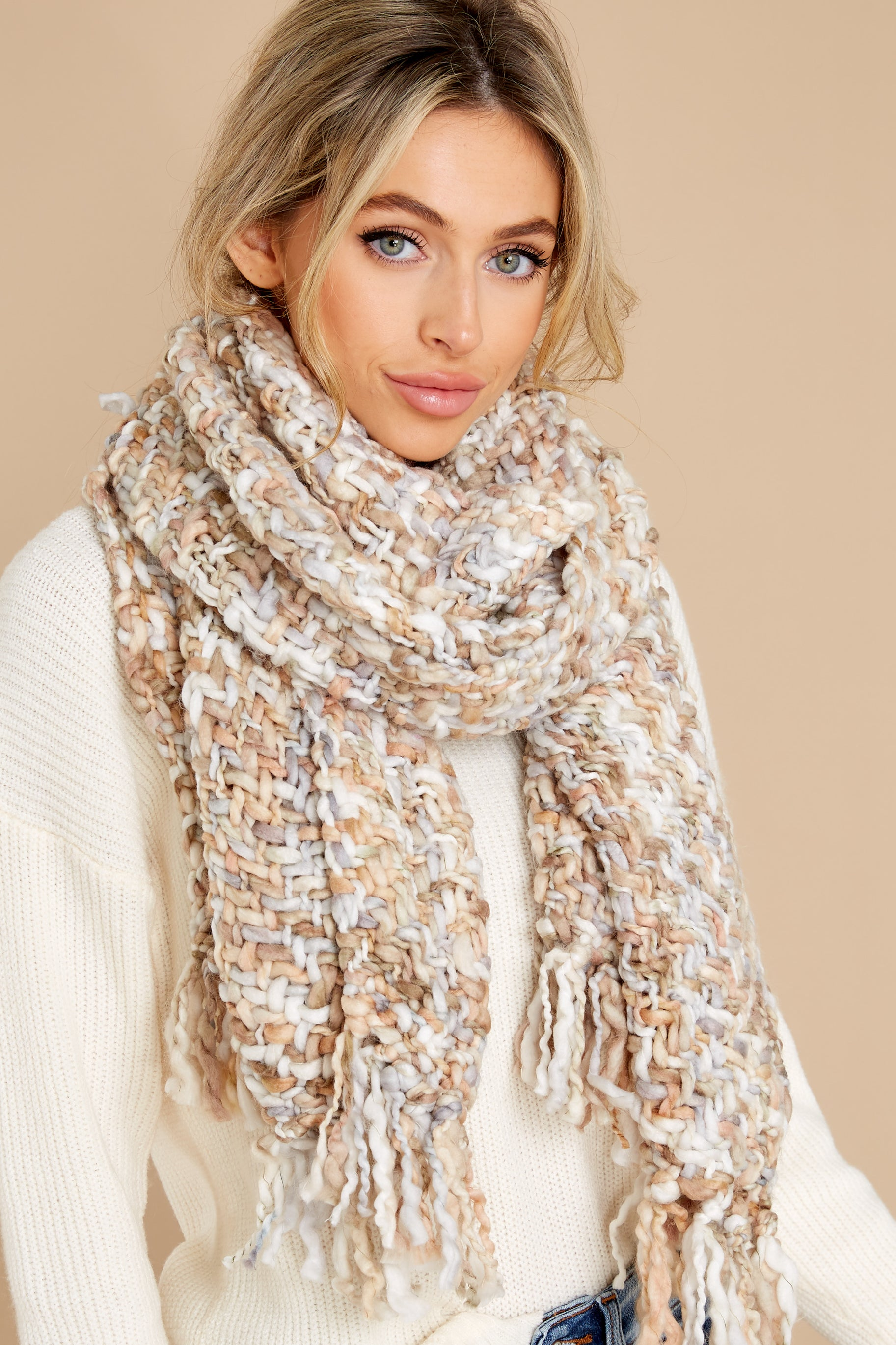 2 Around The Fire White And Mocha Multi Knit Scarf at reddress.com