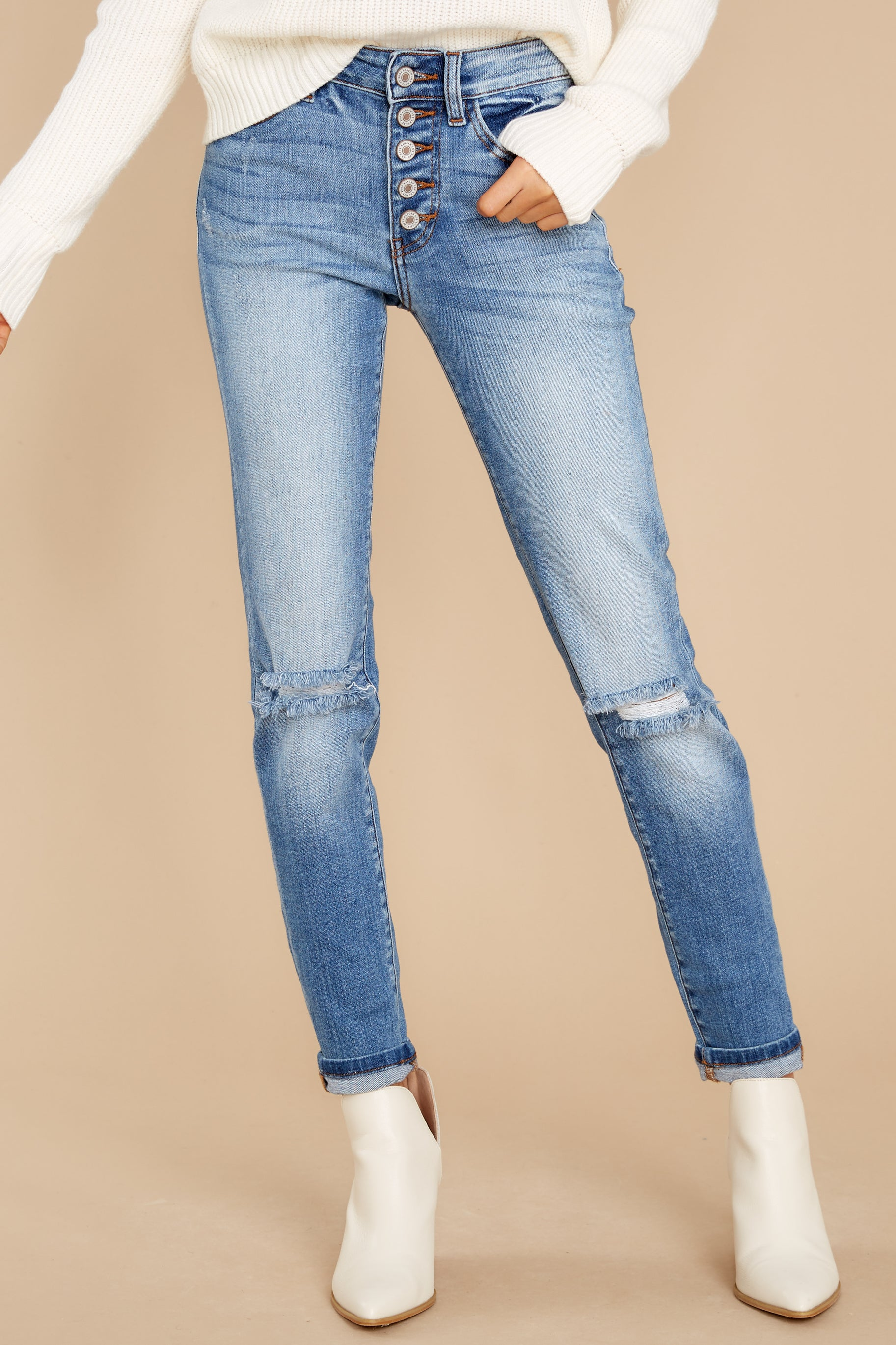 3 Look This Way Light Wash Distressed Skinny Jeans at reddress.com
