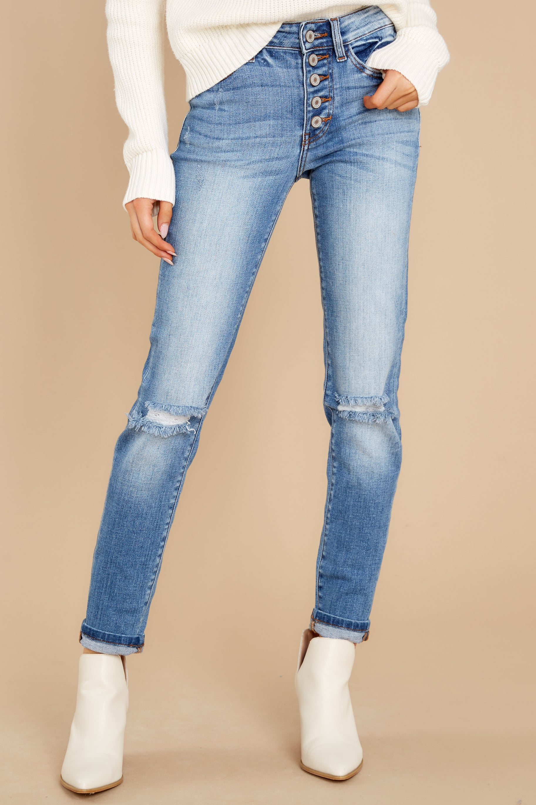 1 Look This Way Light Wash Distressed Skinny Jeans at reddress.com
