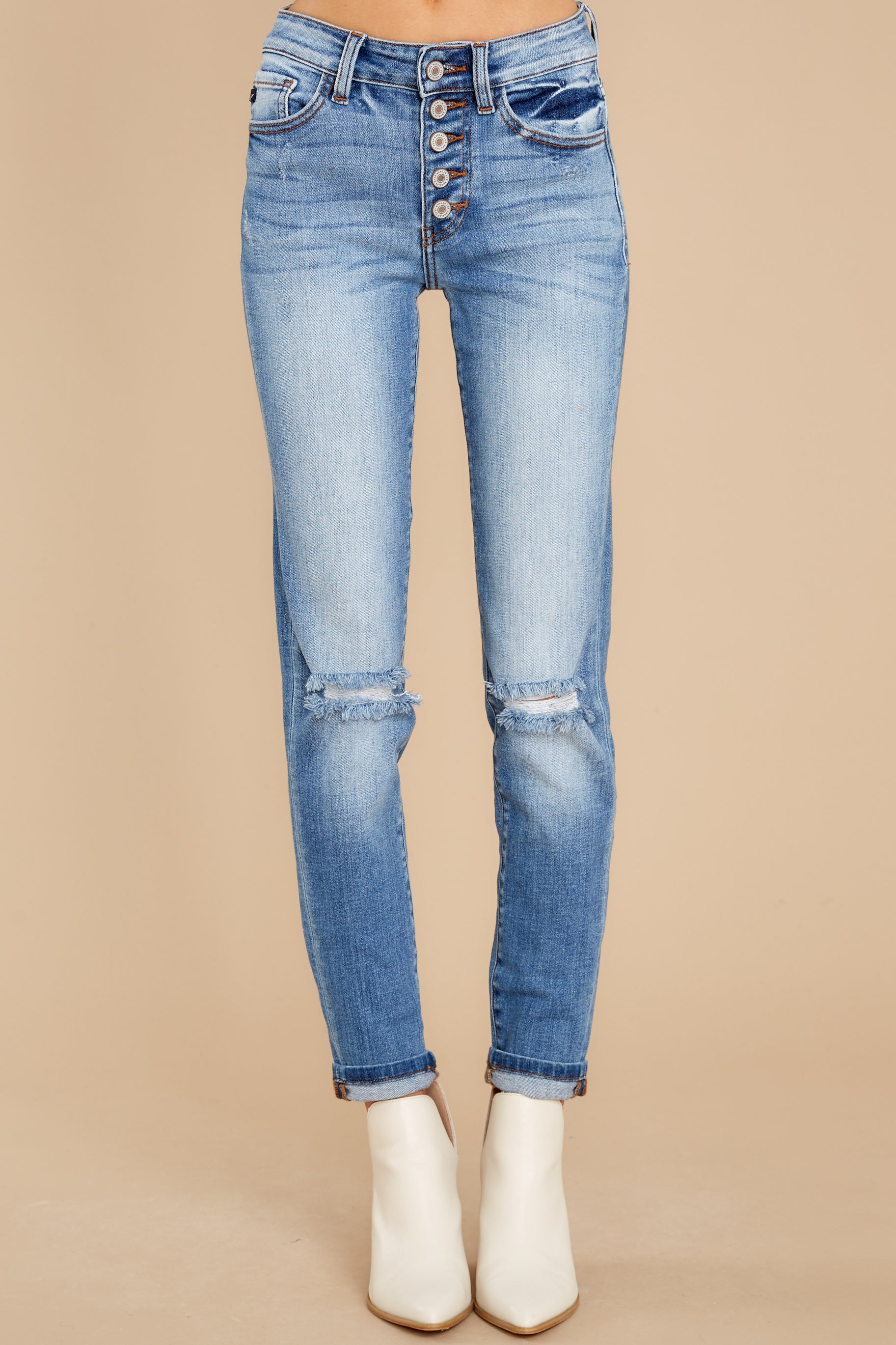 4 Look This Way Light Wash Distressed Skinny Jeans at reddress.com