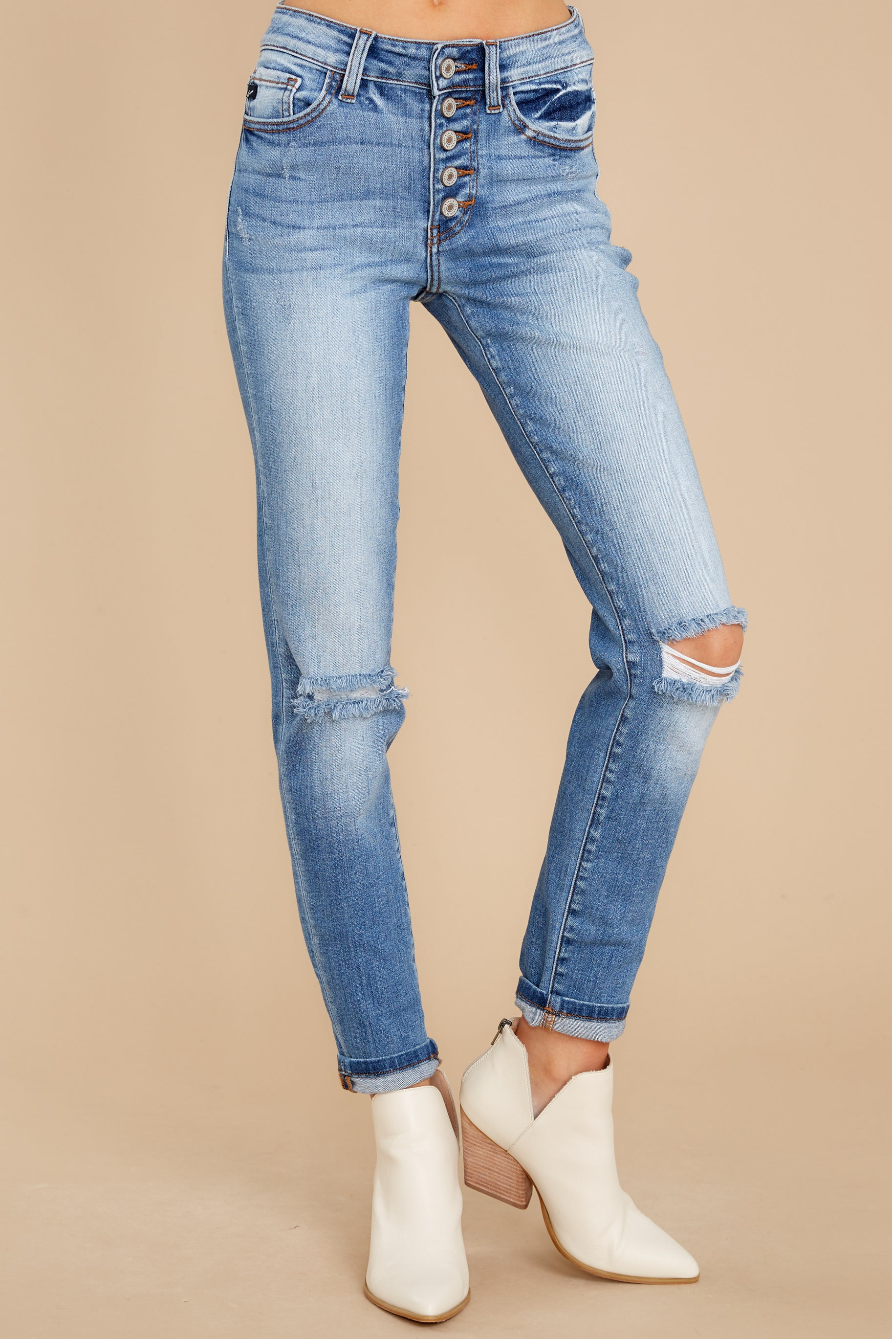 2 Look This Way Light Wash Distressed Skinny Jeans at reddress.com