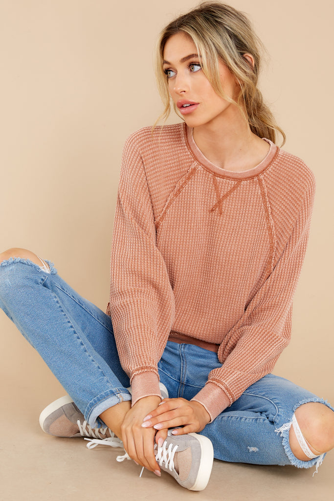 1 Claire Copper Waffle Long Sleeve Top at reddress.com