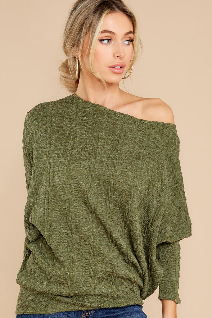 1 Whenever I See You Olive Knit Top at reddress.com