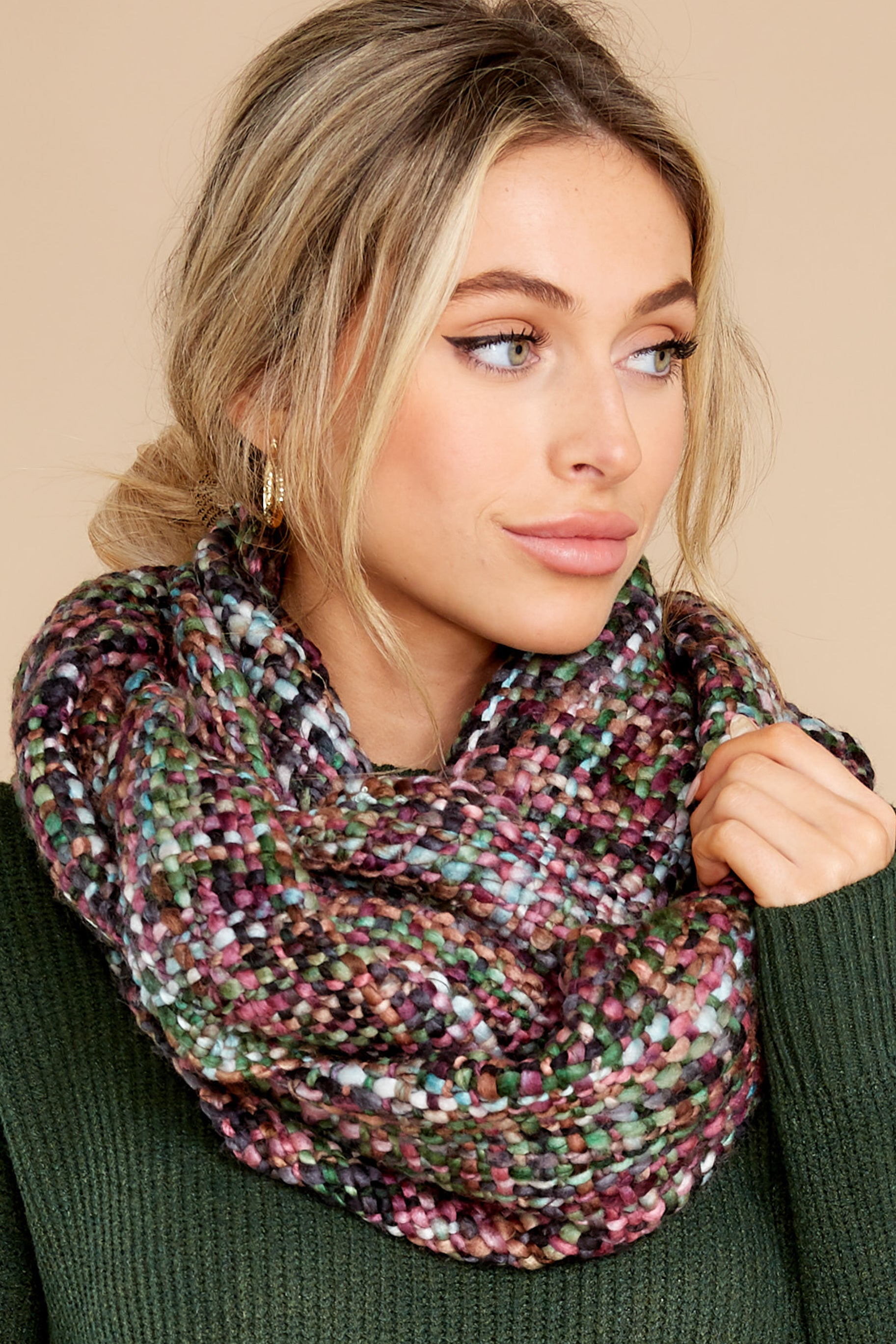 1 Warm Me Up Purple And Green Multi Knit Infinity Scarf at reddress.com