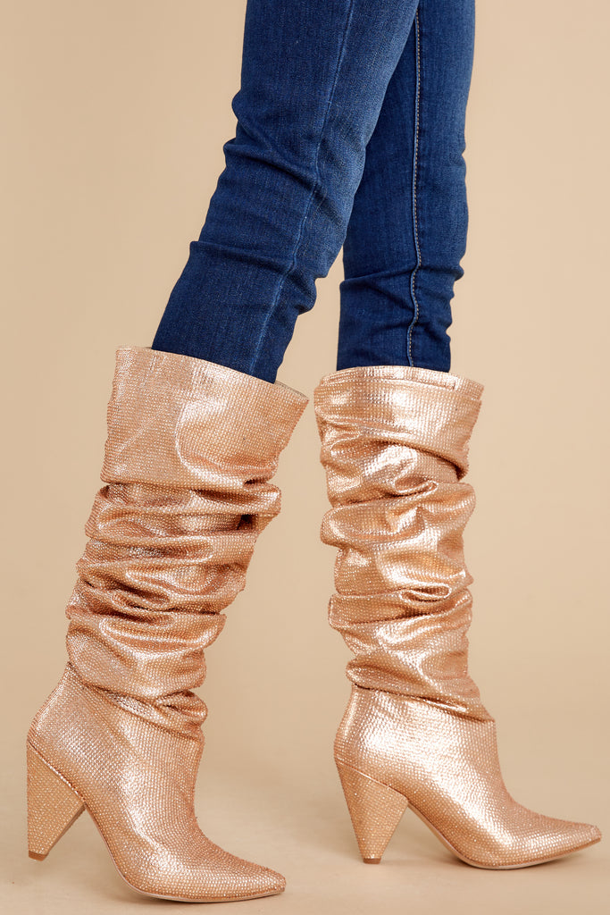 1 Spread The Shine Rose Gold Boots at reddress.com
