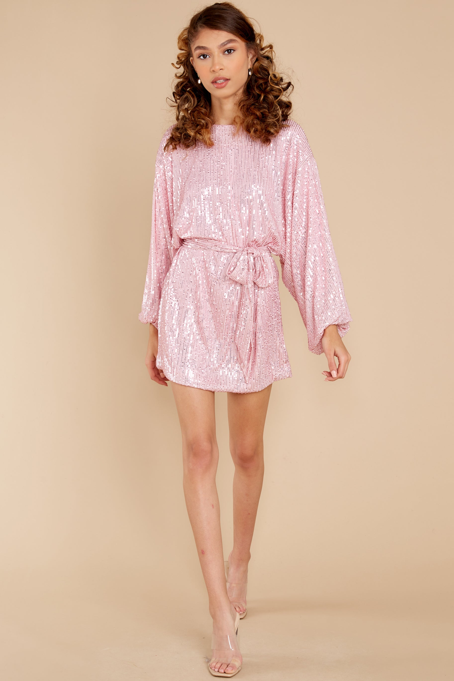 2 Twinkle And Sparkle Pink Sequin Dress at reddress.com