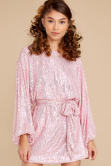 4 Twinkle And Sparkle Pink Sequin Dress at reddress.com
