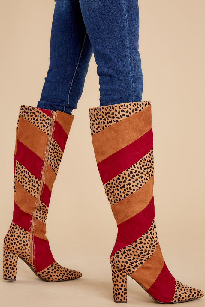 1 Bold Steps Rust Cheetah High Heel Boots at reddress.com