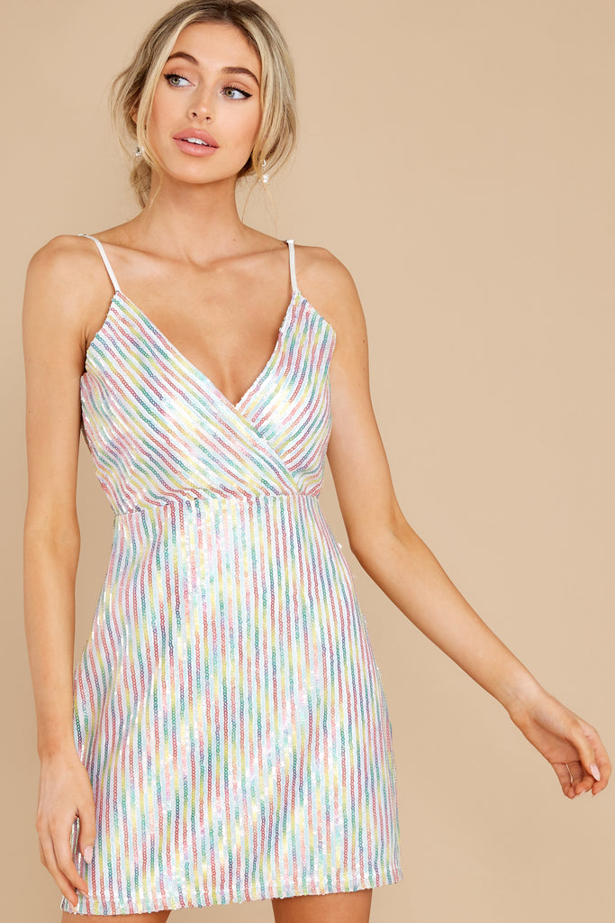 1 Be The Brightest Pink And Blue Multi Sequin Dress at reddress.com