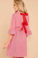 Girls Summer Open-Back Vintage Fitted Above the Knee Checkered Gingham Plaid Print Elasticized Waistline Dress With a Ribbon and Ruffles
