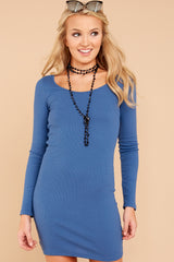 Forces Of Attraction Blue Rib Knit Dress at reddressboutique.com
