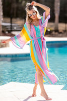 V-neck Striped Print Kimono Sleeves Belted Slit Cover Up/Maxi Dress