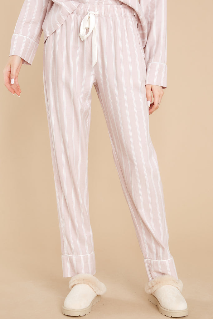 1 Dream State Dusty Rose Stripe Pajama Pants at reddress.com