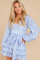 V-neck Cotton Hidden Side Zipper Shirred Sheer Belted Tiered Floral Print Dress With Ruffles