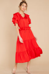 1 Frilled With You Red Midi Dress at reddress.com