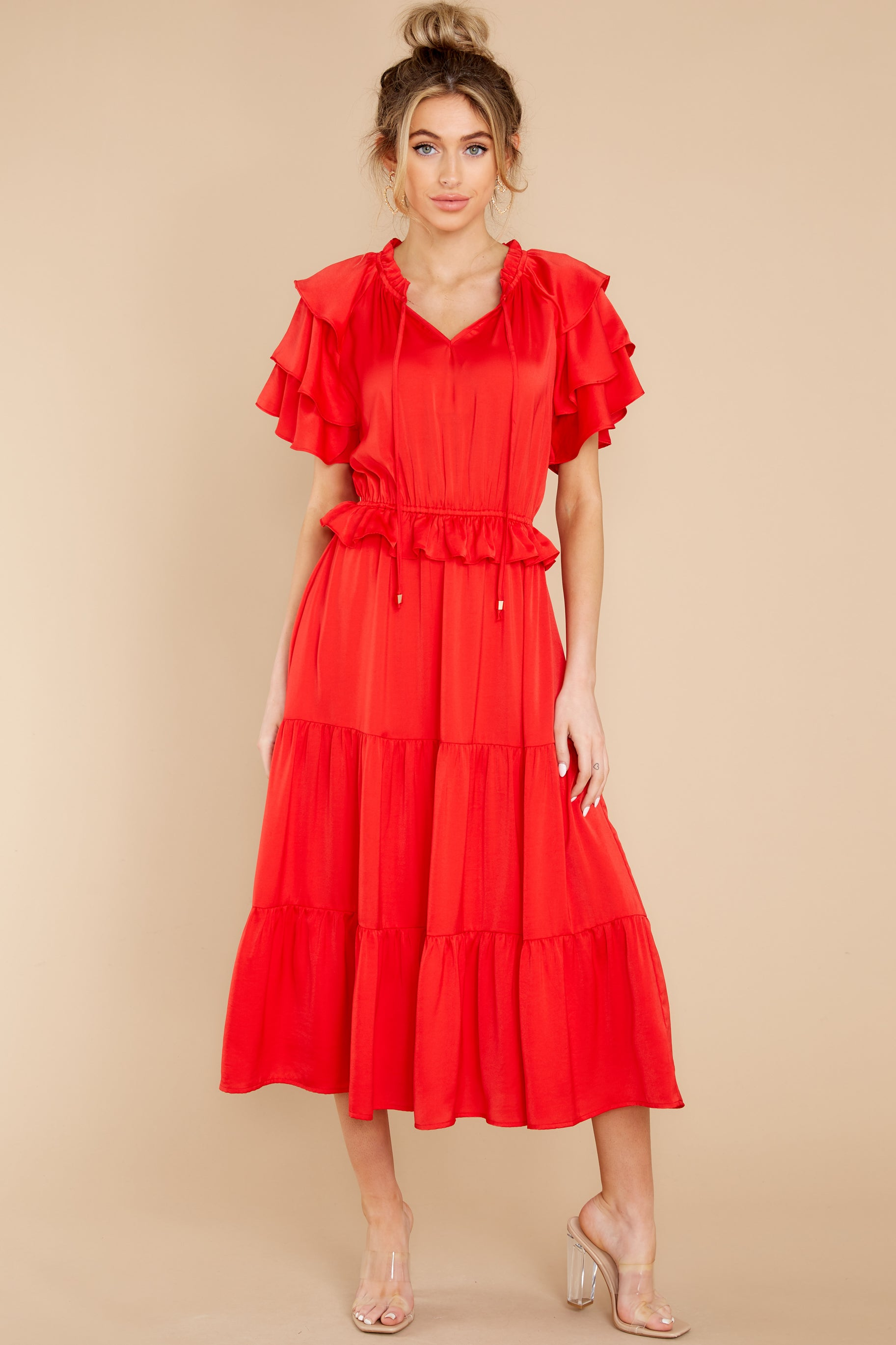 5 Frilled With You Red Midi Dress at reddress.com