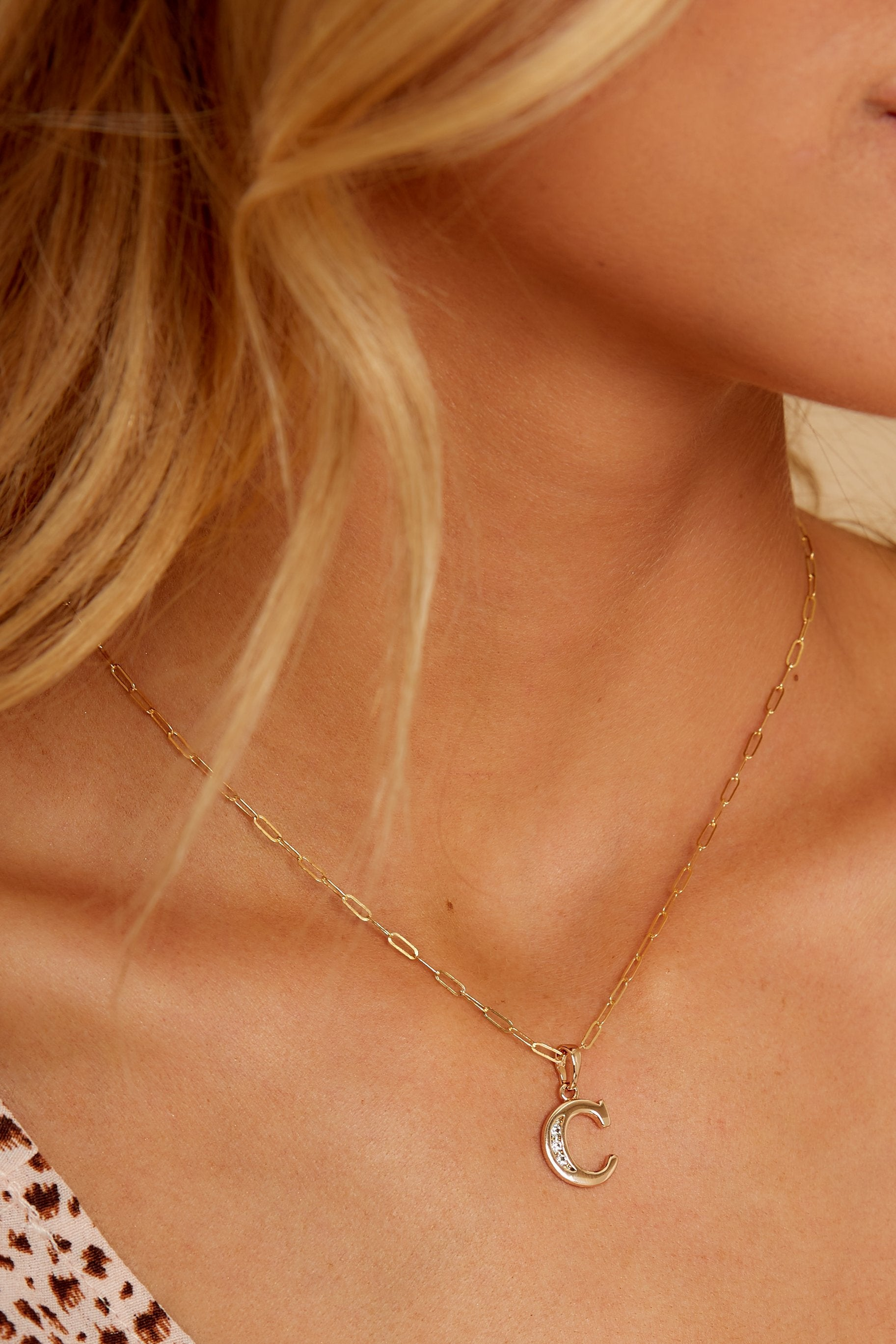 Block Initial C 14K Gold Filled Necklace