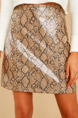 1 Places To Go Bronze Snake Print Skirt at reddressboutique.com