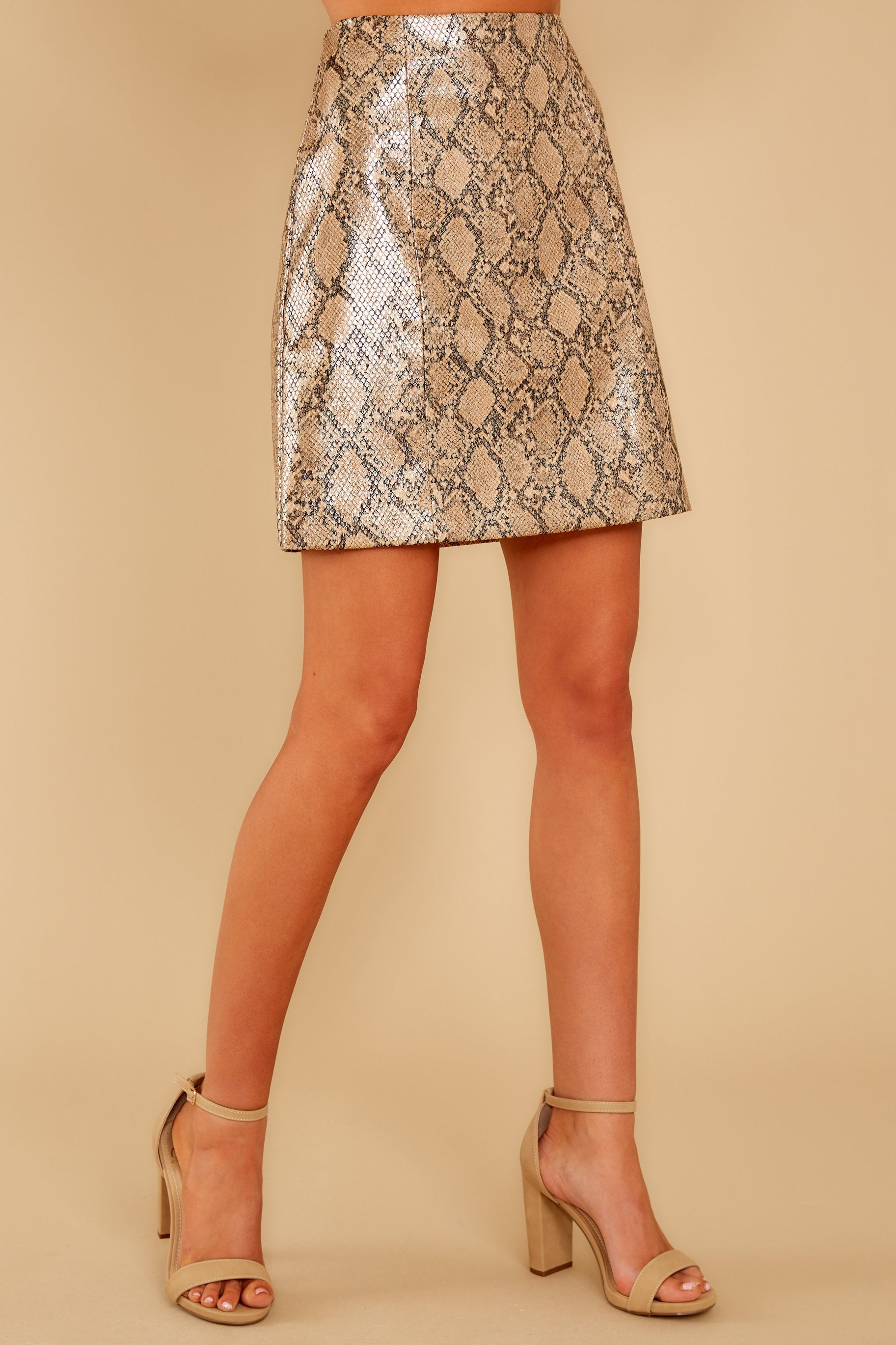 2 Places To Go Bronze Snake Print Skirt at reddressboutique.com