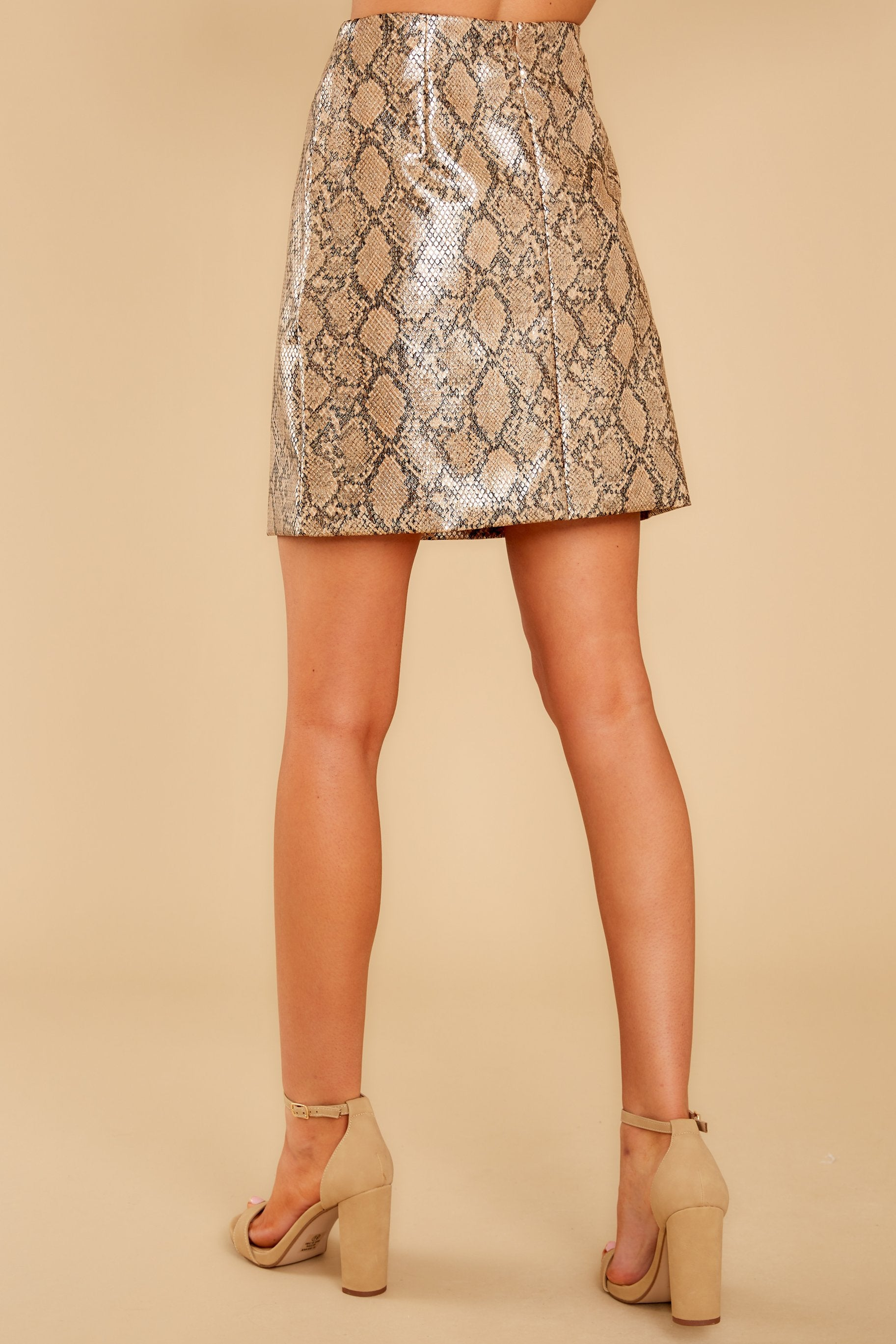3 Places To Go Bronze Snake Print Skirt at reddressboutique.com