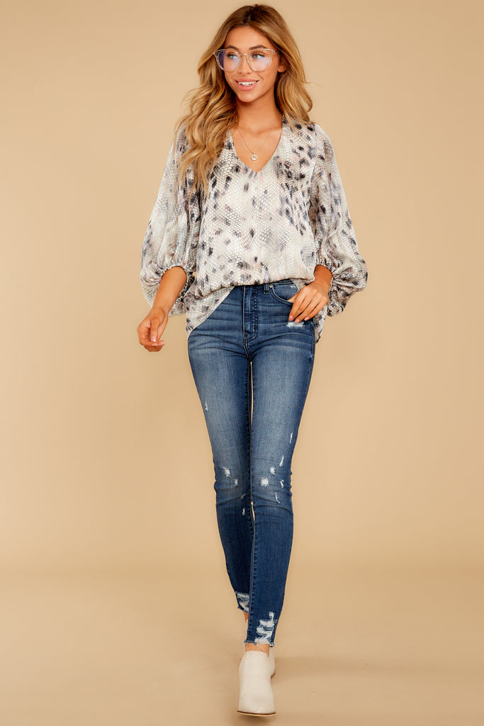 1 Sharp Feelings Taupe Snake Print Top at reddressboutique.com