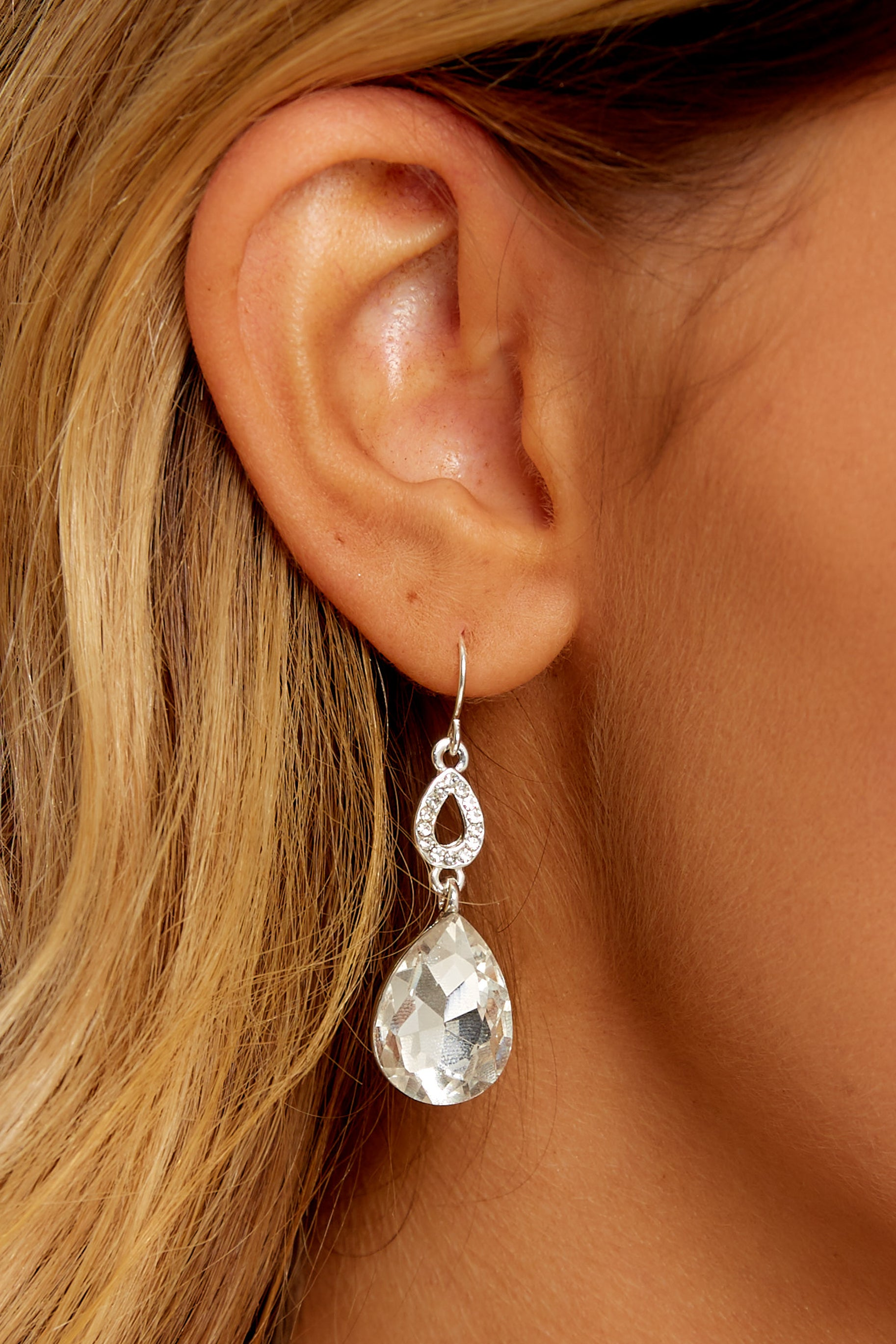 1 Finest Hour Silver Statement Earrings at reddressboutique.com