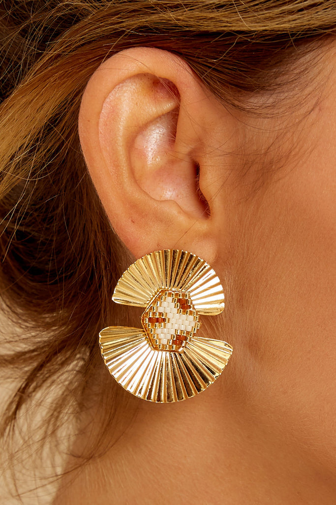 1 No Stress Gold Leaf Earrings at reddress.com