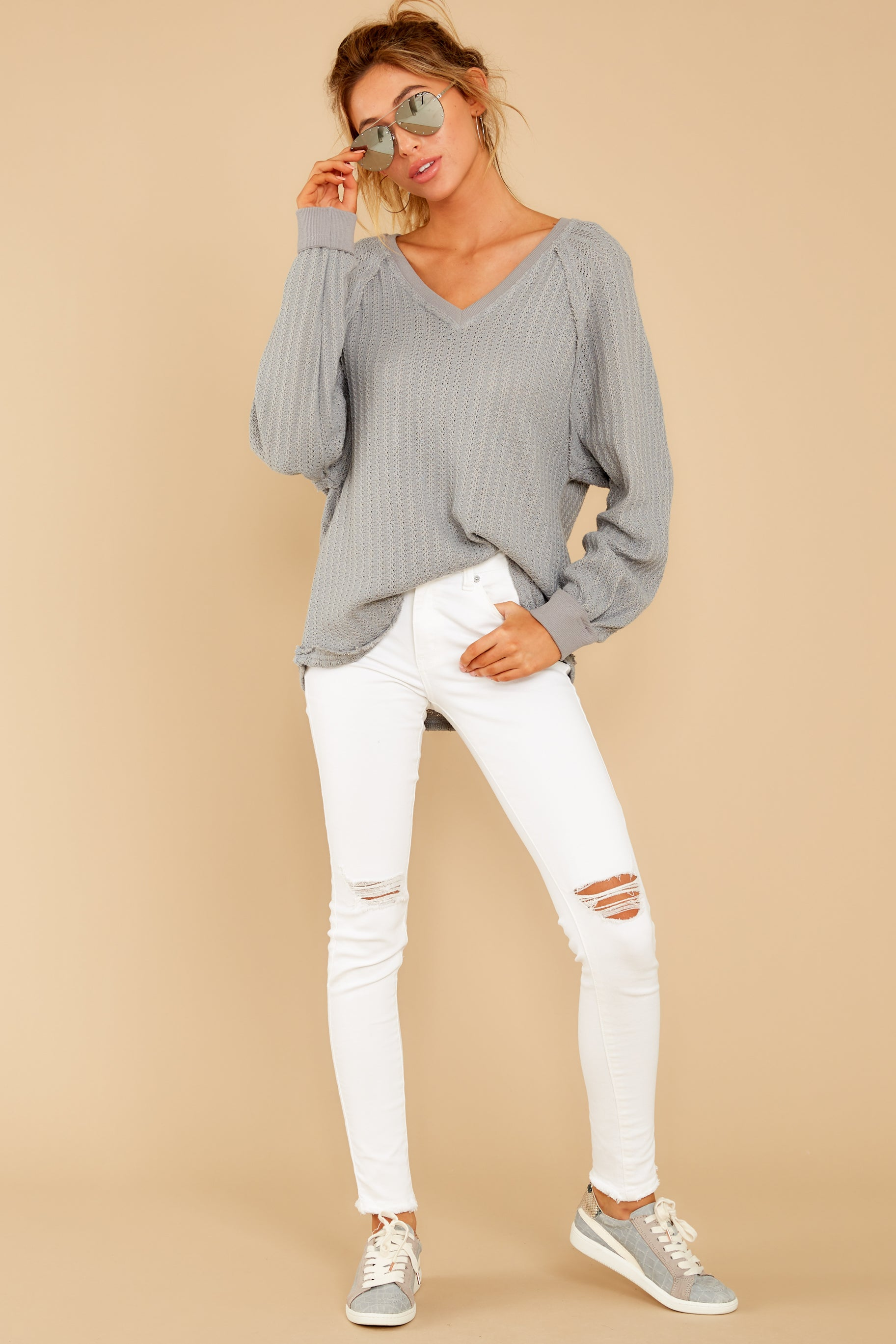 4 Anything But Basic Grey Top at reddressboutique.com