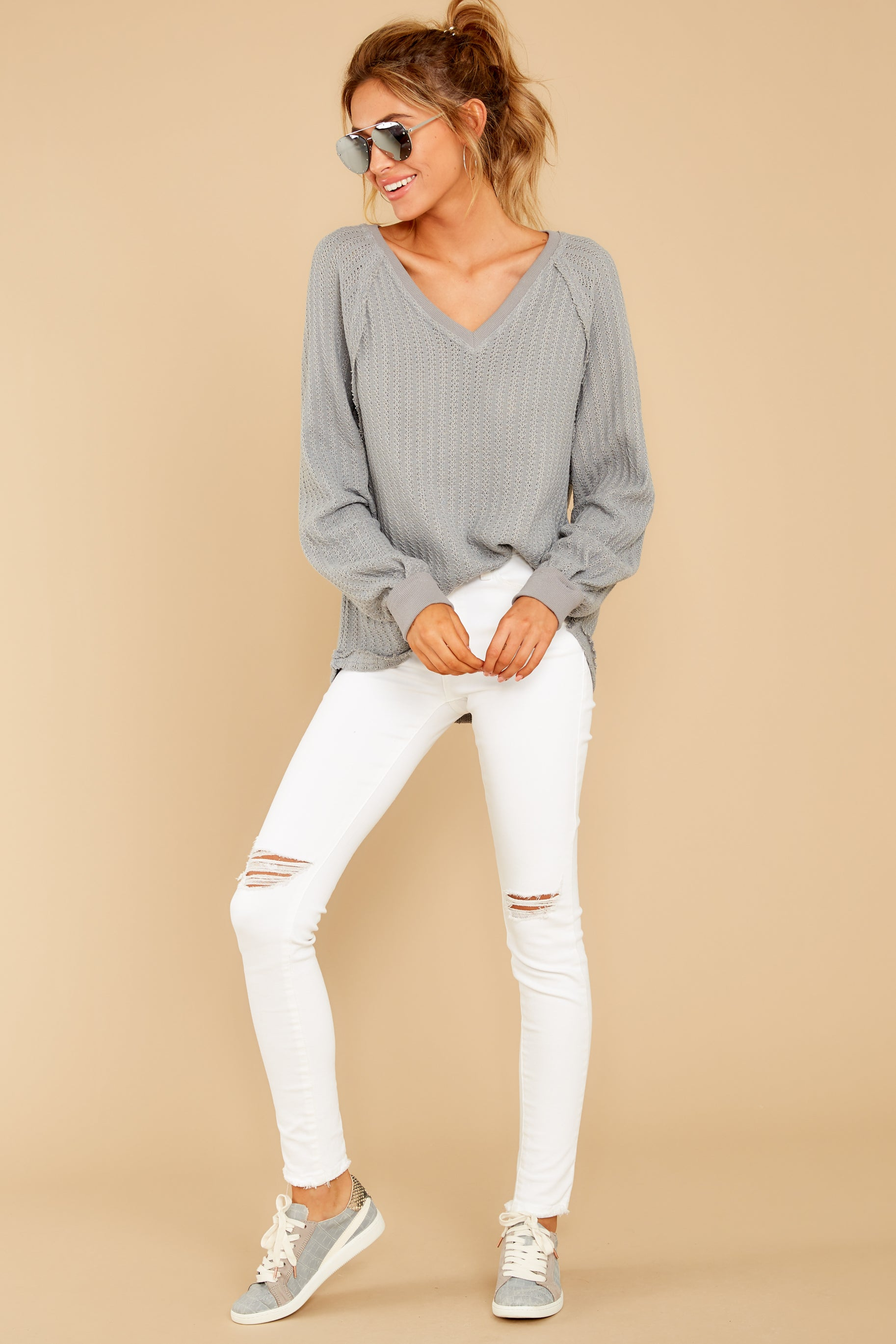 2 Anything But Basic Grey Top at reddressboutique.com