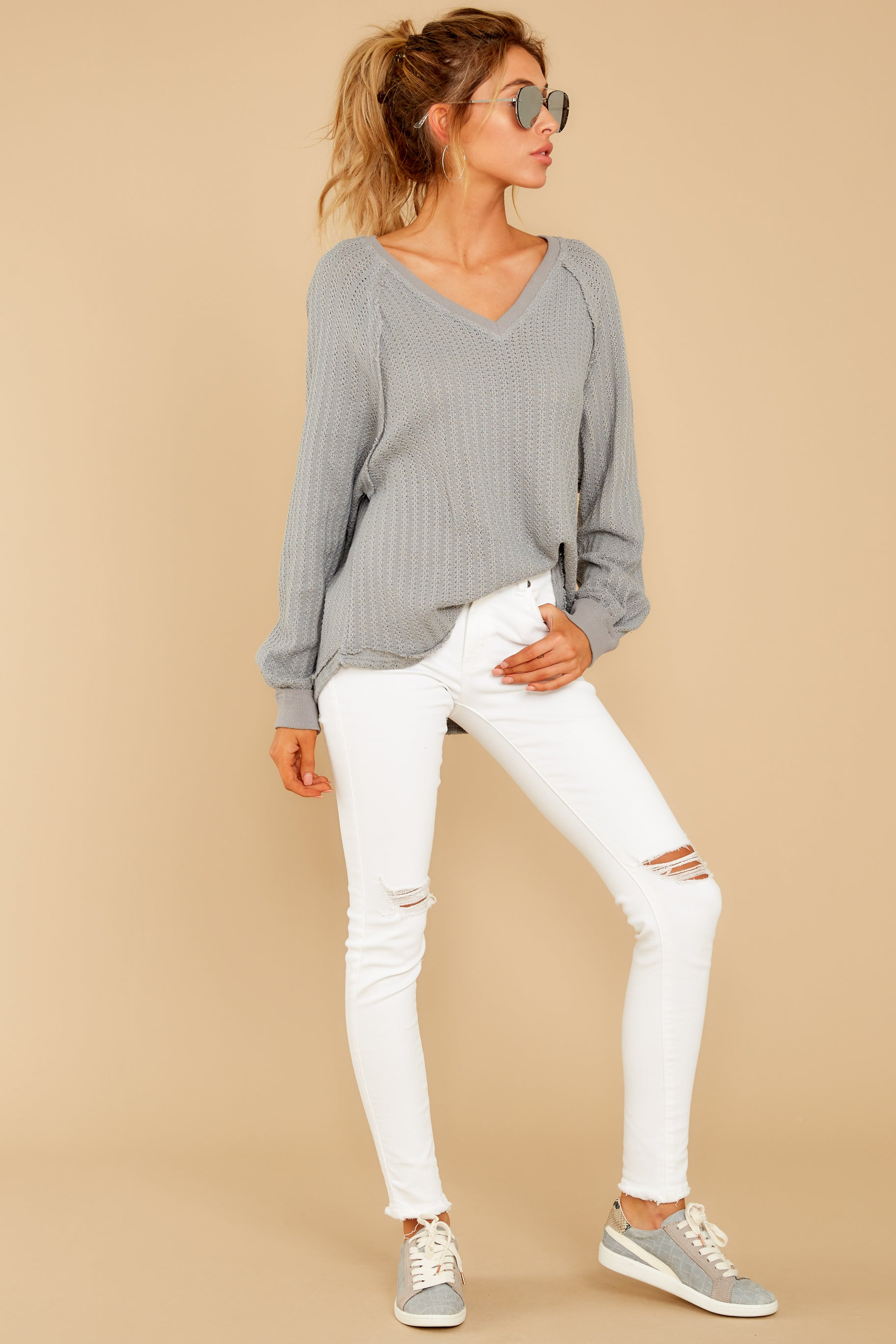 1 Anything But Basic Grey Top at reddressboutique.com